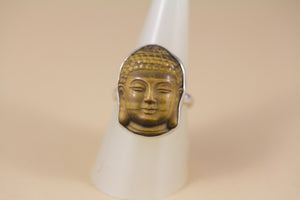 Stering Silver and Tiger Eye Buddha Ring