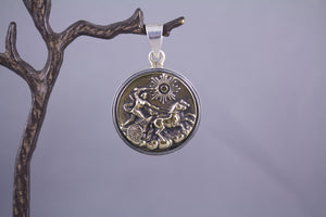 Antique Button & Sterling Silver - Chariot & Horses