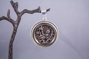 Antique Button & Sterling Silver - Cherub & Bird