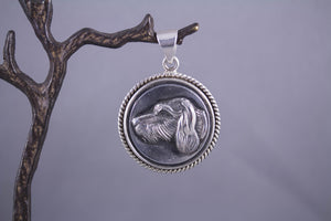 Antique Button & Sterling Silver - Dog