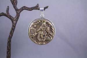 Antique Button & Sterling Silver - Knight with Swan