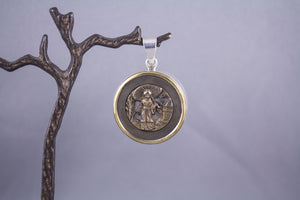 Antique Button & Sterling Silver - Japanese Lady