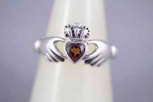 Irish Claddagh Ring Natural Garnet and Sterling Silver