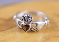 Sterling Silver and Natural Garnet Claddagh Ring