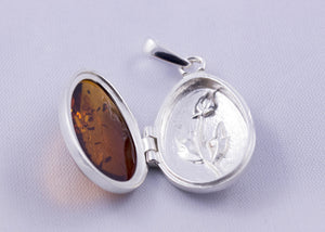 Baltic Amber and Sterling Silver Egg Locket Pendant - cognac, green or cherry colours available