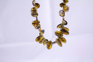 Green Baltic Amber Graduated Bead Necklace