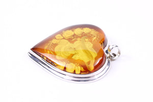 Baltic Amber and Sterling Silver Cameo Heart Pendant
