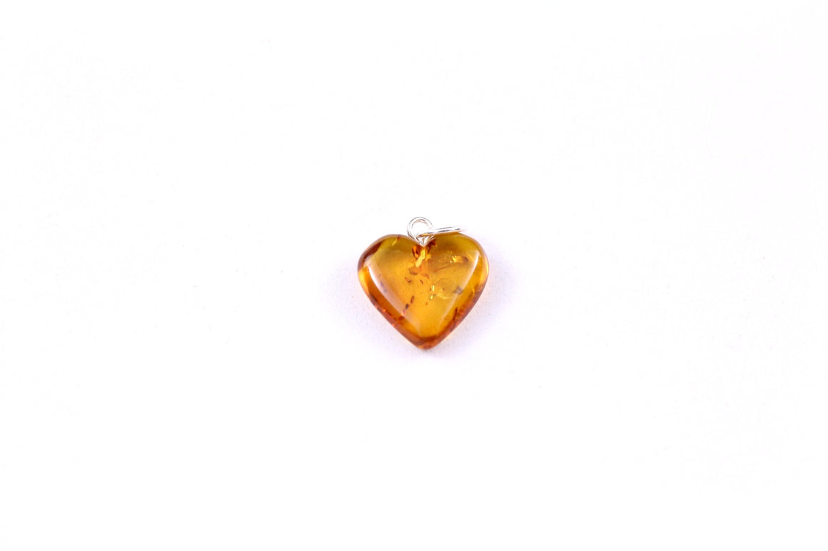 Cognac Baltic Amber Heart Pendant with Sterling Silver