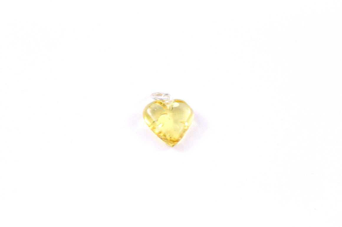 Yellow Baltic Amber Heart Pendant with Sterling Silver