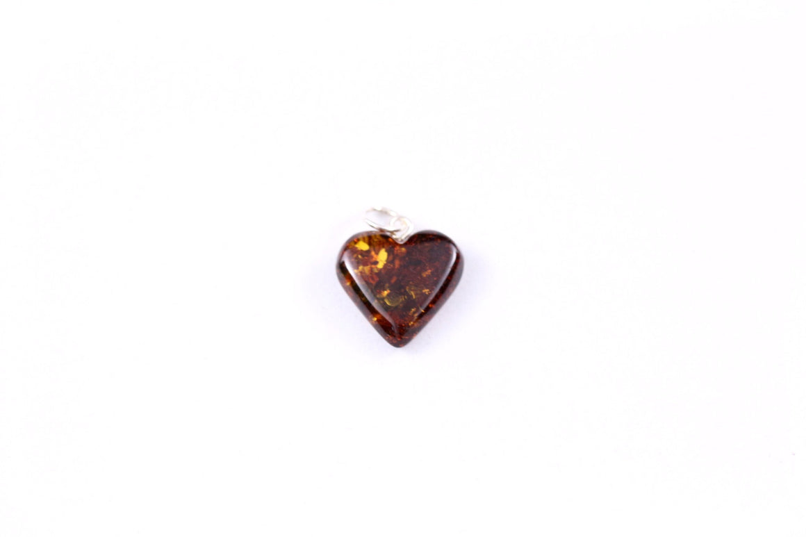 Cherry Baltic Amber Heart Pendant with Sterling Silver