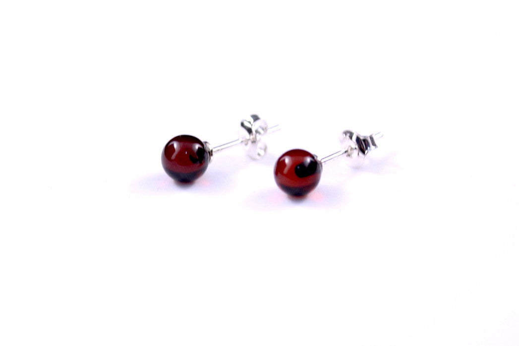 Cherry Amber Sterling Silver Celtic Round Stud Earrings 3fNnsIXbH