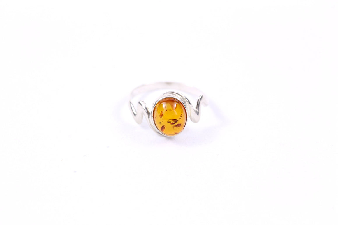 Baltic Amber and Sterling Silver Zigzag Ring side view
