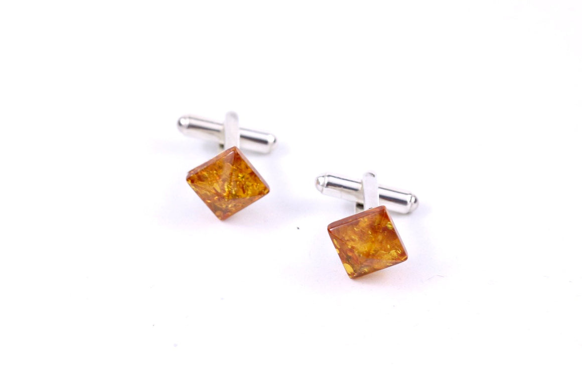 Square Sterling Silver and Cognac Baltic Amber Cufflinks