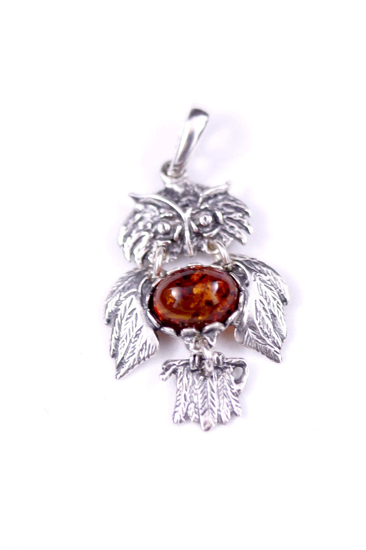 Cognac Baltic Amber and Sterling Silver Owl Pendant