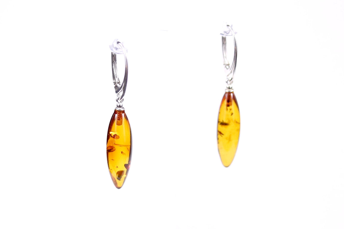Cognac Baltic Amber Marquise Earrings with Sterling Silver