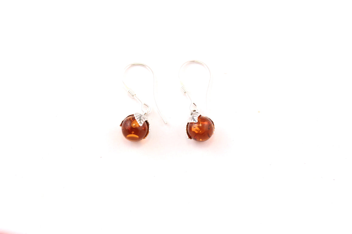 Cognac Baltic Amber and Sterling Silver Round Leaf Hook Earrings