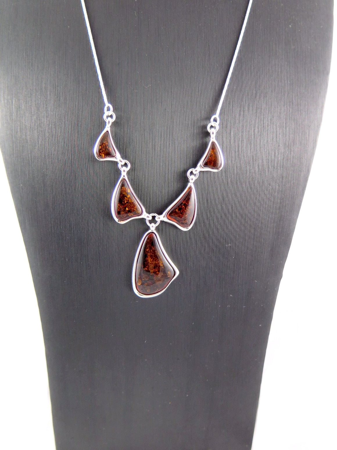 Baltic Amber and Sterling Silver Abstract Necklace