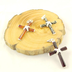 Baltic Amber and Sterling Silver Cross Pendant - Cognac, Cherry or Green