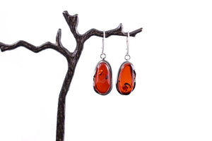 Cherry Baltic Amber and Sterling Silver Handmade Earrings