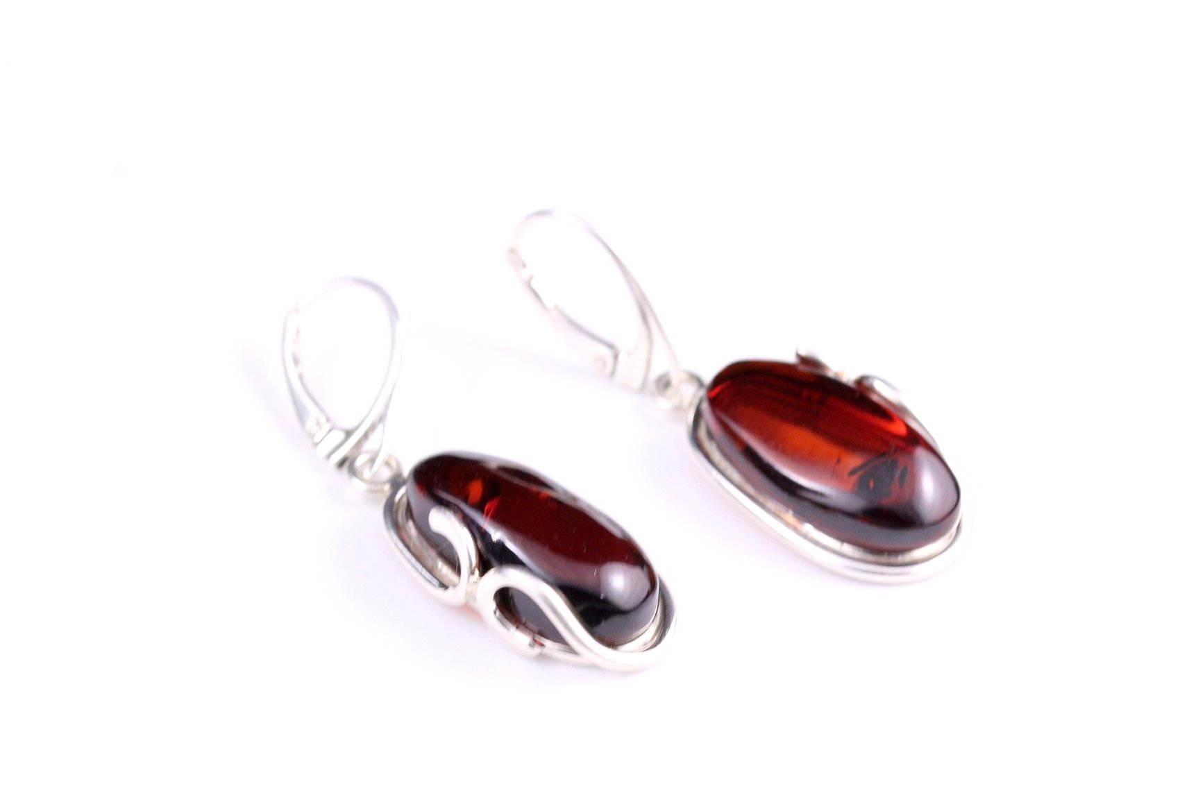 Cherry Amber Sterling Silver Celtic Round Stud Earrings 41rQ2A