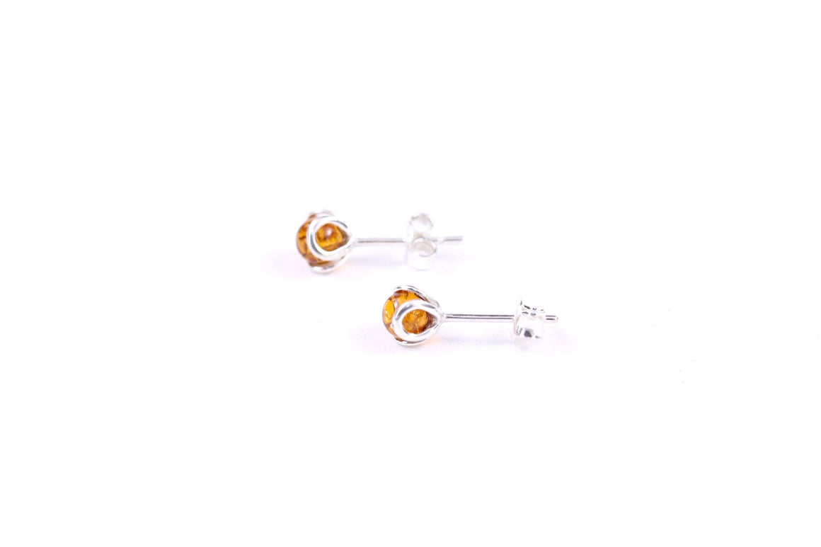 Cognac Baltic Amber and Sterling Silver Stud Earrings