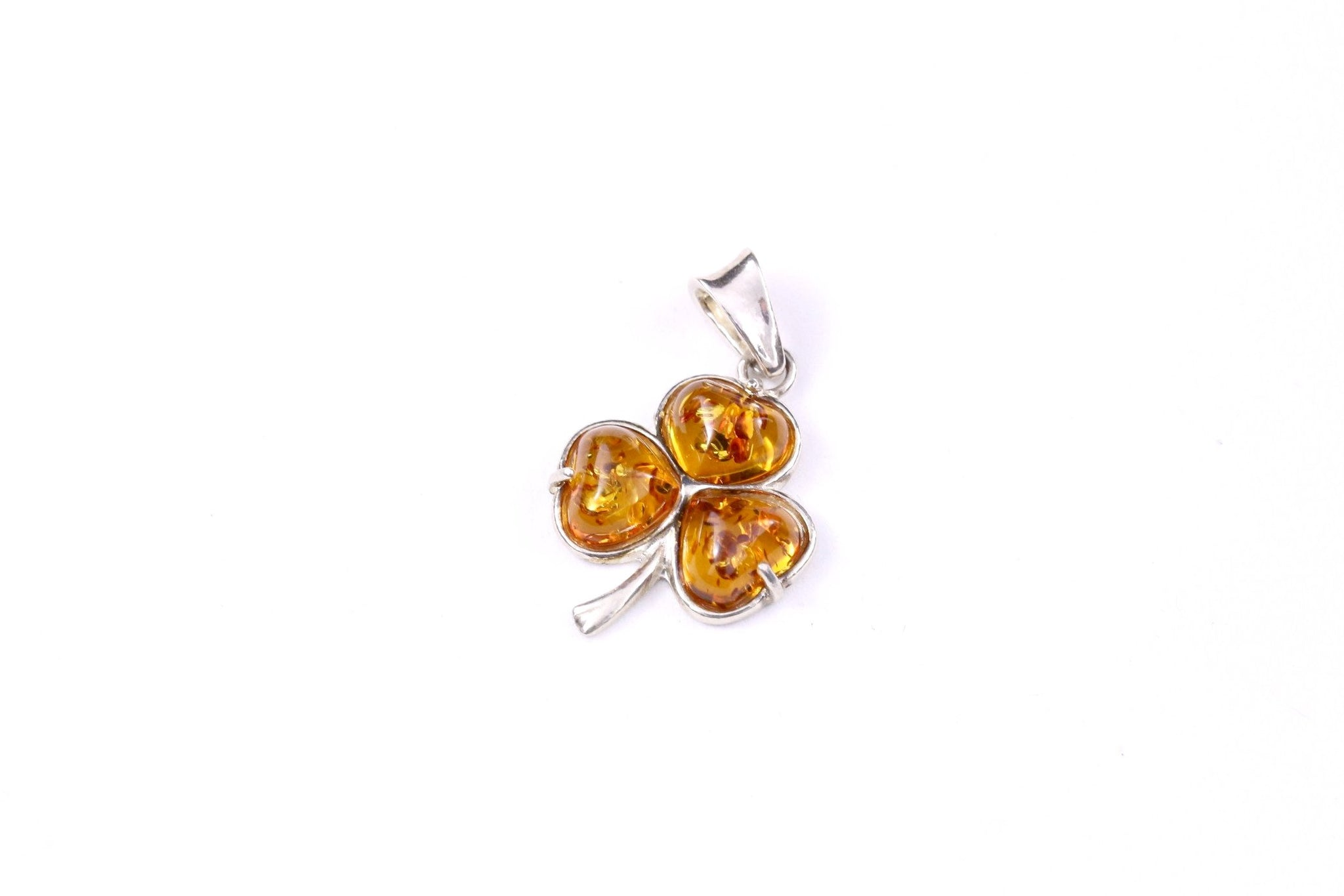 15a0998a8274c Cognac Baltic Amber and Sterling Silver Clover Pendant