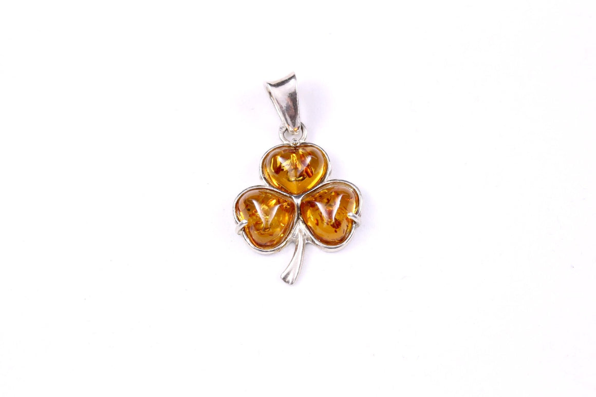 Cognac Baltic Amber and Sterling Silver Clover Pendant