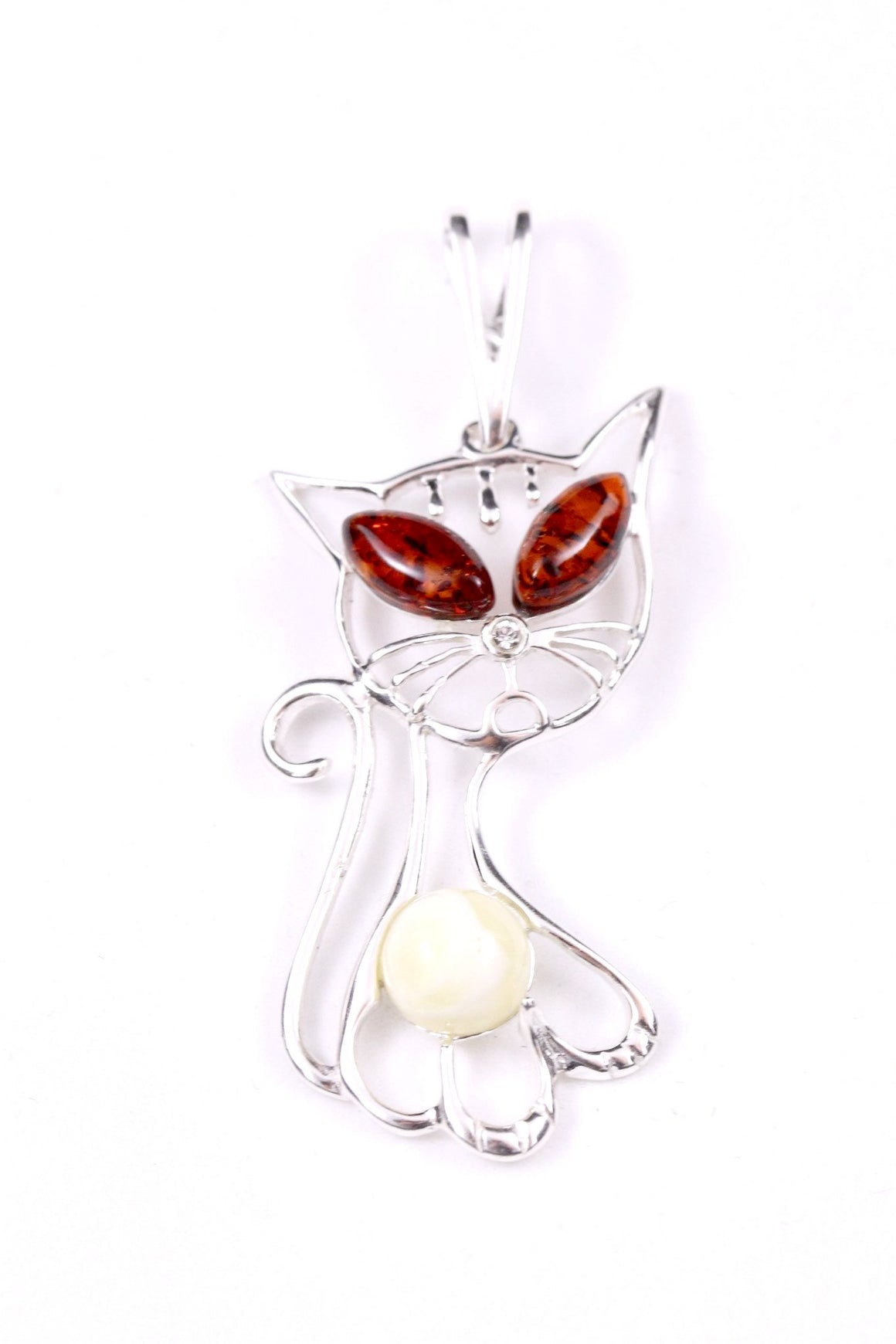 Cartoon Cat Pendant with Baltic Amber and Sterling Silver