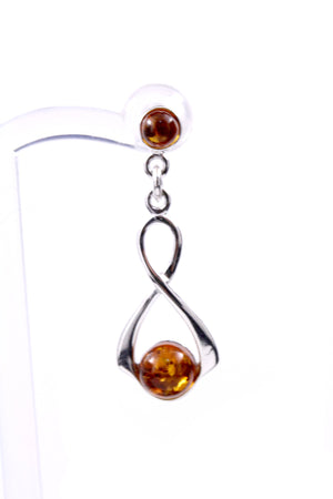 Baltic Amber and Sterling Silver Drop Earrings side view