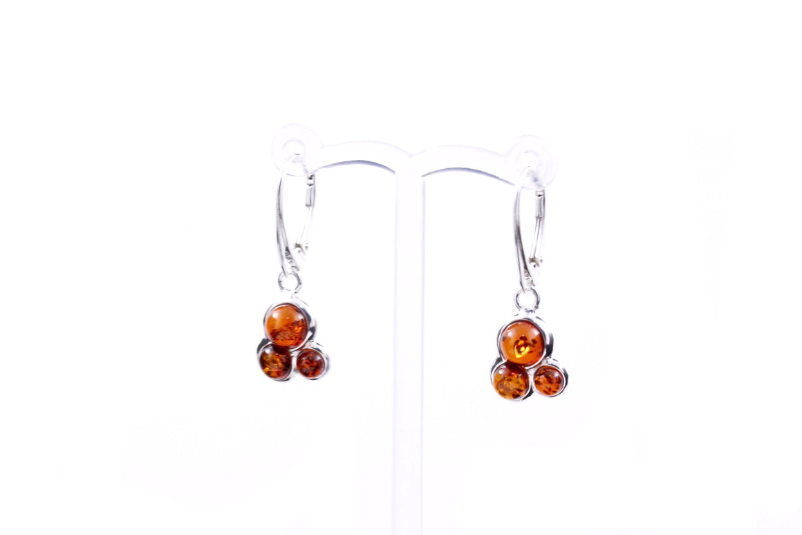 Baltic Amber and Sterling Silver Trilogy Earrings