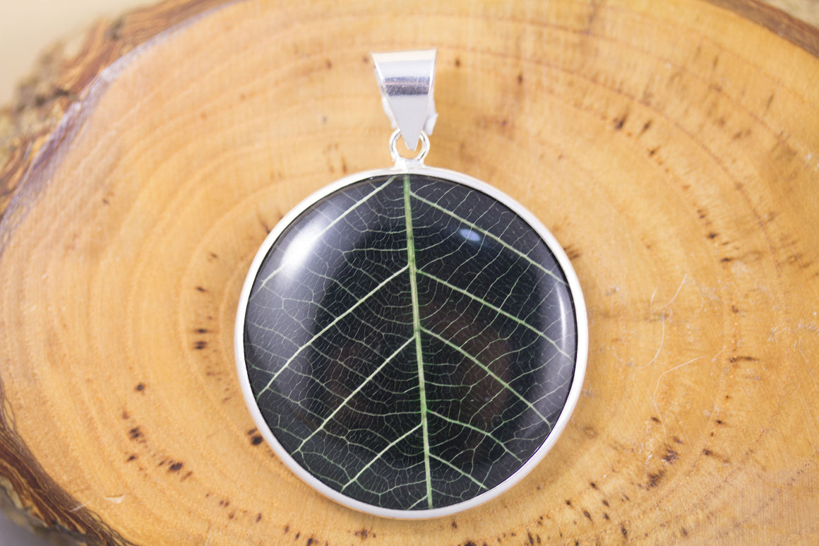 Sterling Silver and Real Leaf Pendant