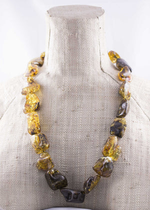 Massive Natural Green Baltic Amber Freeform Bead Necklace