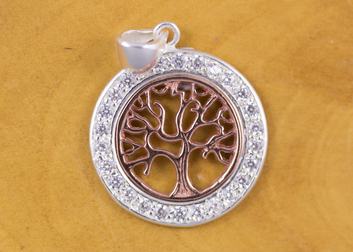 Sterling Silver Tree of Life and CZ Pendant Rose Gold Plated