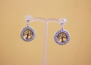 Sterling Silver Tree of Life and CZ Earrings with Rose Gold Highlights