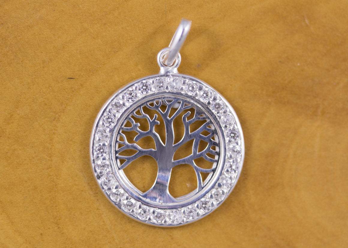 Sterling Silver Tree of Life and CZ Pendant