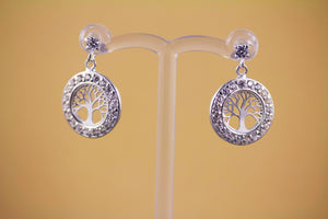 Sterling Silver Tree of Life and CZ Stud Earrings