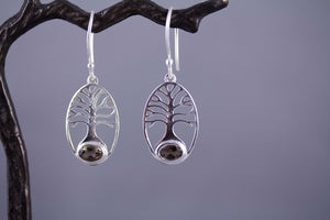 Tree of Life Sterling Silver and Smoky Quartz Earrings