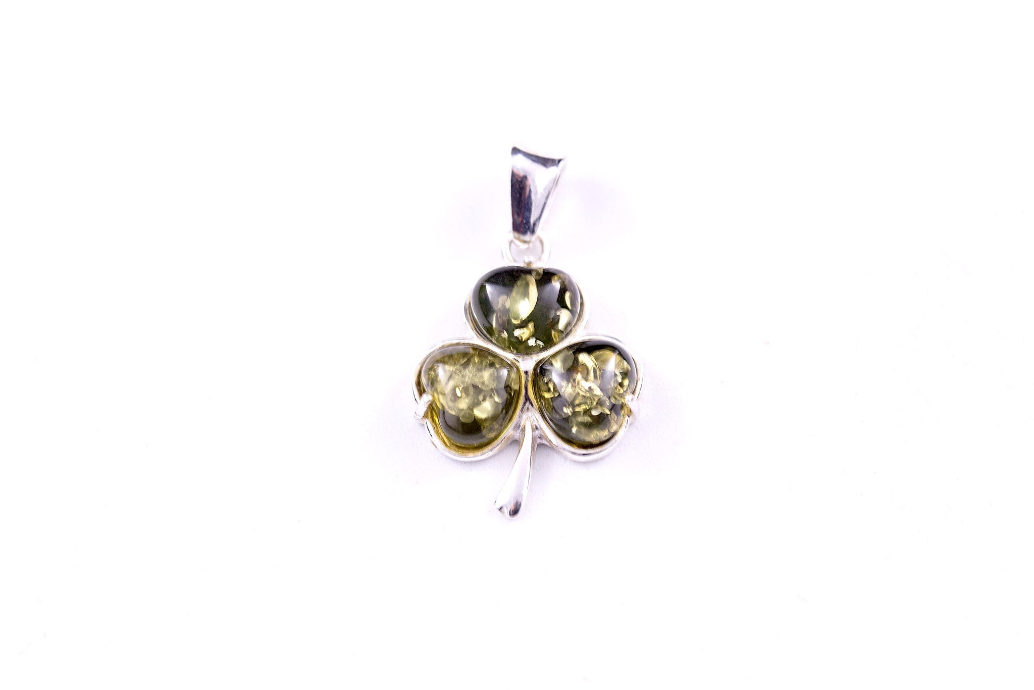 cda6111e2a570 Green Amber and Sterling Silver Clover Pendant
