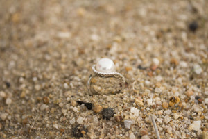 Cultured Pearl, CZ and Sterling Silver Wave Ring side detail