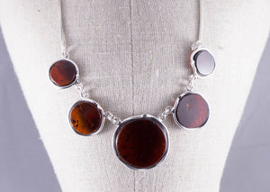 Sterling Silver and Cherry Baltic Amber Necklace