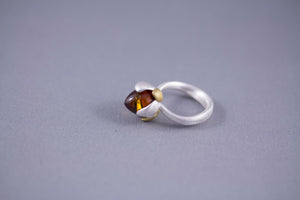 Cognac Baltic Amber and Gold Plated Sterling Silver Flower Bud Ring close up