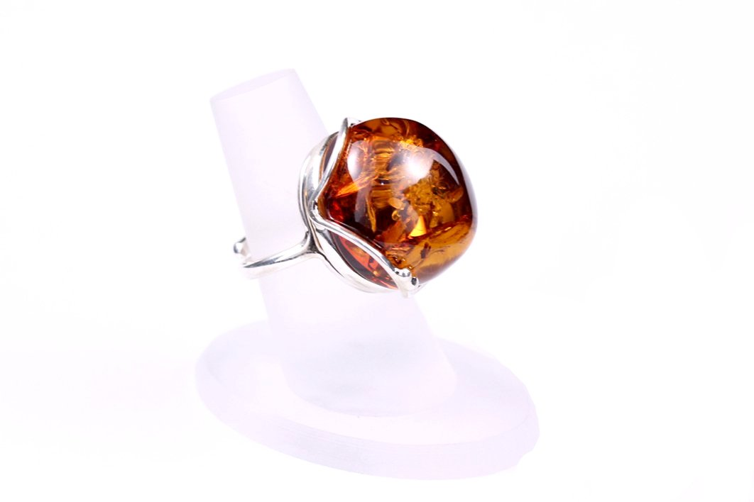 Baltic Amber and Sterling Silver Ball Statement Ring