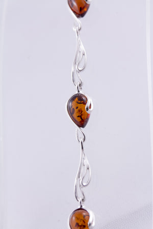 Cognac Baltic Amber and Sterling Silver Comet Bracelet