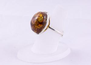 Cognac Baltic Amber and Adjustable Sterling Silver Ball Ring close