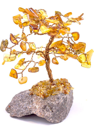Handmade Baltic Amber and natural stone ornamental tree