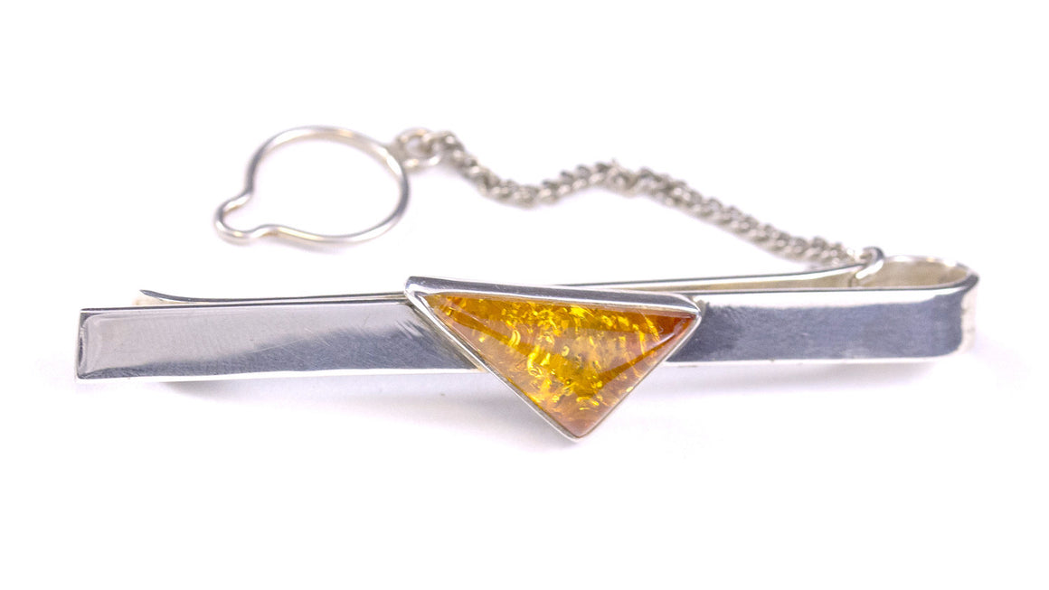Honey Baltic Amber and Sterling Silver Tie Bar