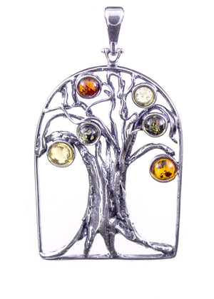 Baltic Amber and Sterling Silver Tree of Life Pendant