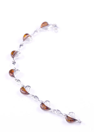 Cognac Baltic Amber and Sterling Silver Chain of Hearts Bracelet curved