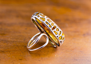 Golden Honey Baltic Amber and Sterling Silver Ring