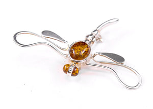 Baltic Amber and Sterling Silver Dragonfly Brooch